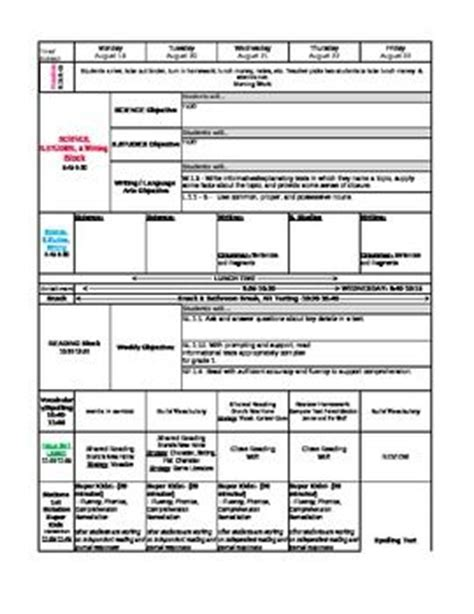 common standards math lesson plan template 1st grade common lesson plan template common