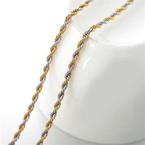 cadena torsal cadena torsal acero inoxidable dorada y plateada 2mm x