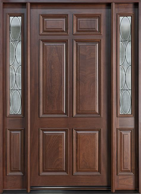 Solid Wood Exterior Door Entry Door In Stock Single With 2 Sidelites Solid Wood With Walnut Finish Classic Series