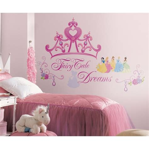 disney princess crown wall mural stickers girls pink tiara decals room decor  ebay