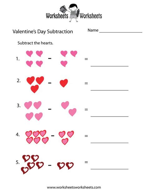 free printable preschool valentine worksheets valentine s worksheets free valentine s day subtraction