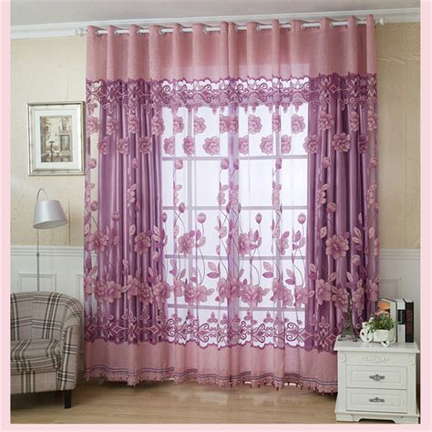 rich curtains new semi shade curtains purple rich flowers pattern