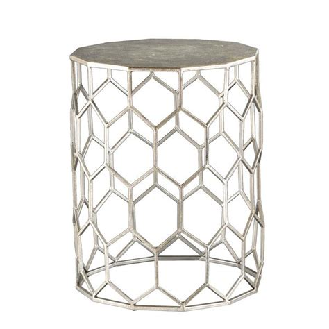 silver metal end table silver geometric hexagon metal accent table