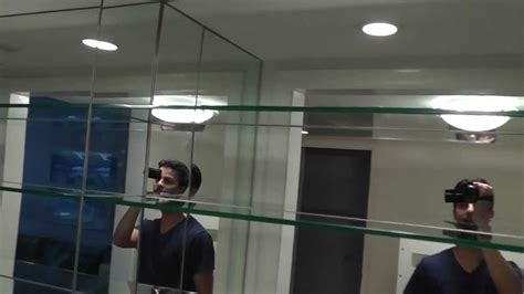 how to remove glass mirror from bathroom wall mirrored bar mirror and glass shelves youtube