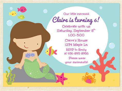 mermaid birthday invitation under the sea by busychickadees