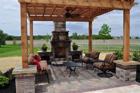 pergola and outdoor fireplace in oh mediterranean
