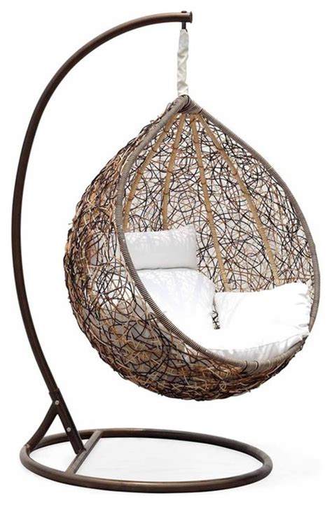 Trully outdoor wicker swing chair the great hammocks contemporary hammocks and swing chairs