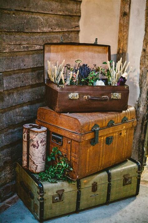 top  vintage suitcase wedding decor ideas roses rings