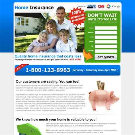 quality home insurance lead generating landing page to