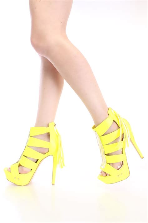 yellow strappy high heels neon yellow strappy high heels faux leather