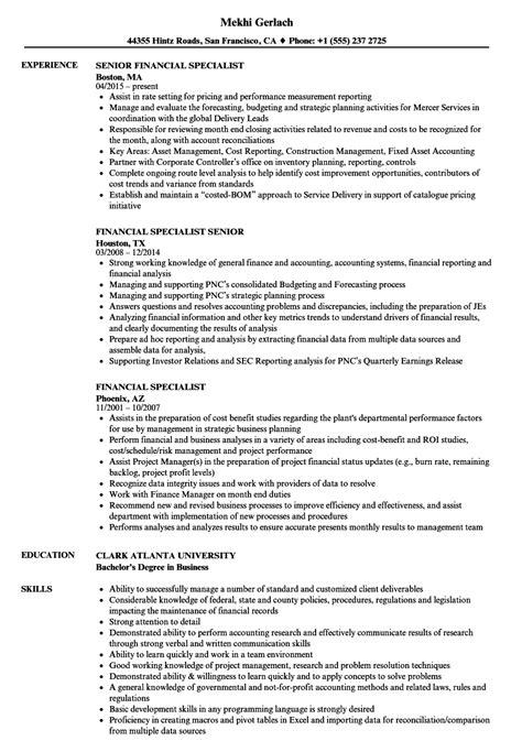 Financial Aid Specialist Resume financial specialist resume sles velvet