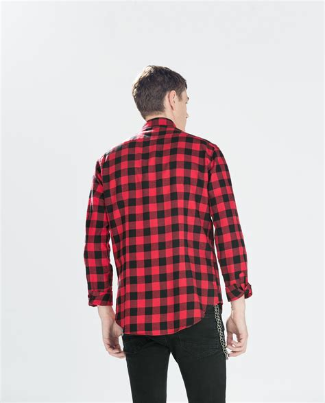 Zaraman Cotton Shirt zara two tone checked flannel shirt in for lyst
