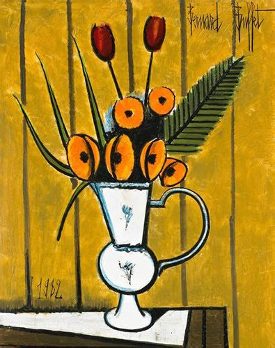 Artist Bernard Buffet Oil Painting Quot Soucis Et Tulipes Quot For Bernard Buffet Paintings For Sale