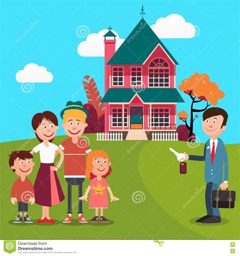 buying a house with a realtor happy family buying a new house real estate agent with keys from house vector stock