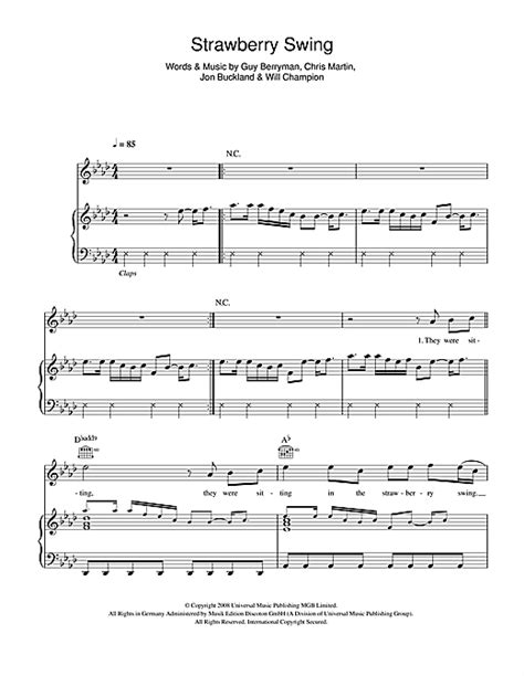 swing piano strawberry swing sheet music by coldplay piano vocal