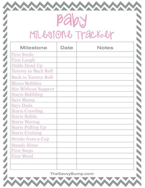 free printable baby milestone tracker the savvy bump