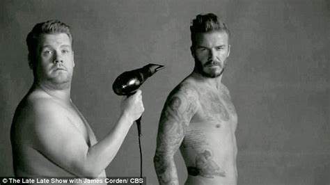 Hair Dryer Cowok by David Beckham Strips With Corden For A Spoof