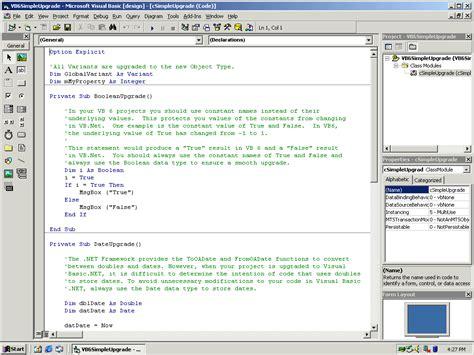 Microsoft Visual Basic 6 0 Lab 5 Using The Visual Basic Upgrade Wizard