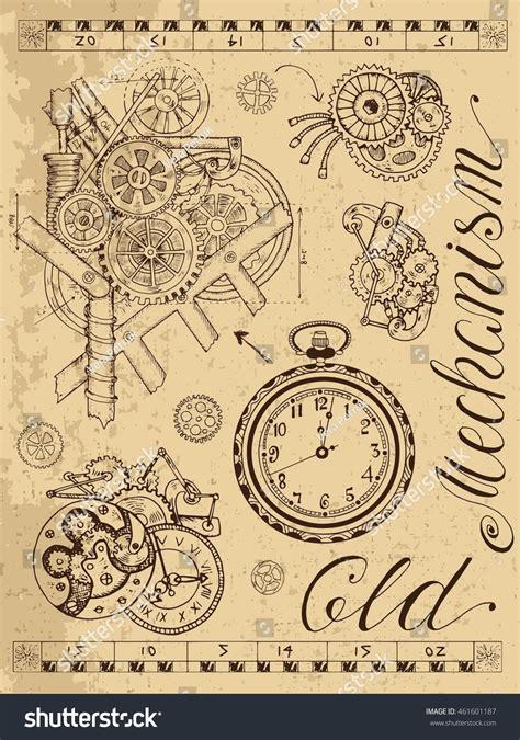 doodle mechanism mechanism clock steunk style on stock vector