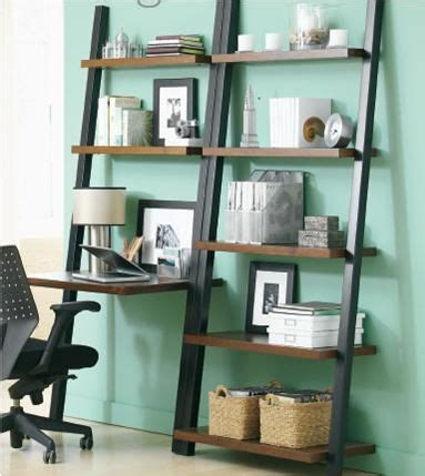leaning desk and leaning bookshelf by tag furniture