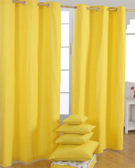 Yellow And White Curtains Cotton Plain Yellow Ready Made Eyelet Curtain Pair Homescapes