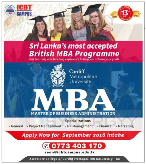 Of Colombo Mba Programme by Cardiff Metropolitan Mba In Sri Lanka By Icbt
