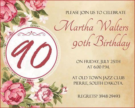 90th Birthday Invitations Free Printable 90th Birthday Invitations Templates Free