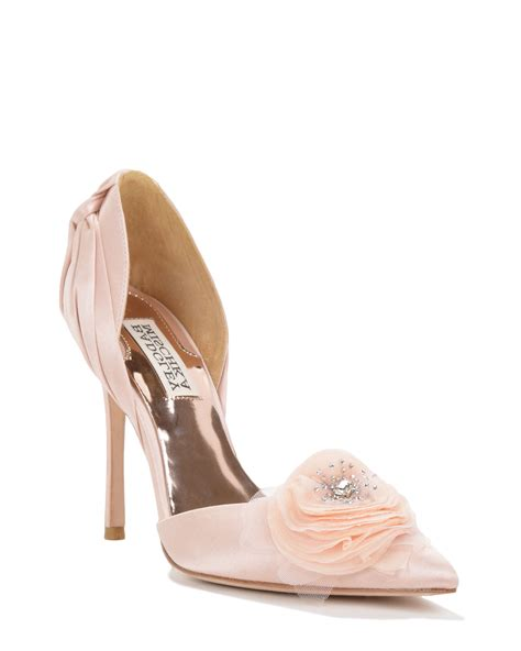 badgley mischka genny flower d orsay evening shoe in pink