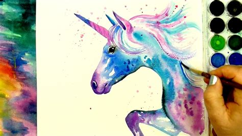 learn how to paint and color quot a beautiful unicorn quot a simple watercolour speed painting