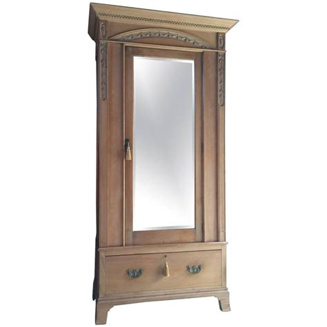 Antique Pine Wardrobe With Mirror antique wardrobe solid pine edwardian single door mirror fronted at 1stdibs