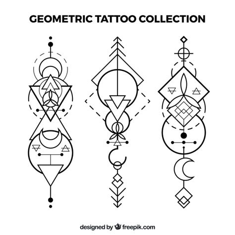 imagenes de simbolos geometricos set de tatuajes geom 233 tricos 233 tnicos descargar vectores