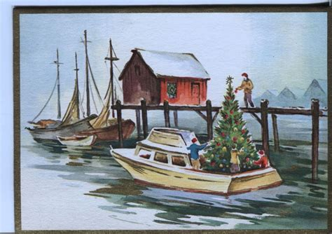 vintage christmas card boat with christmas tree cart 245 es