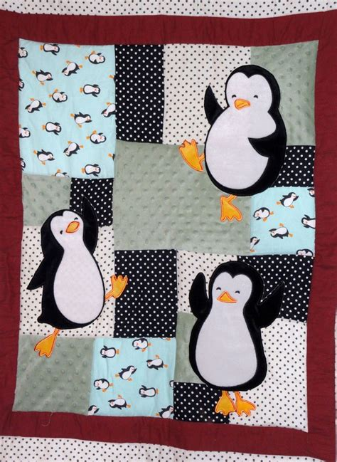 Penguin Quilt Pattern by Baby Quilt Happy Penguin Appliqued Baby Quilt Black