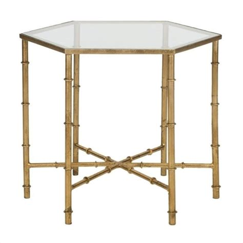 glass accent tables safavieh kerri iron and glass accent table in gold fox2517b