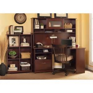 Small Computer Desk With Bookshelf Cabot 60 Quot Corner Computer Desk Set In Harvest Cherry
