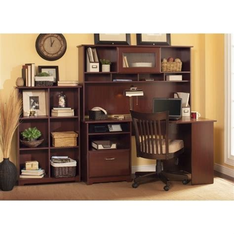 cabot 60 quot corner computer desk set in harvest cherry