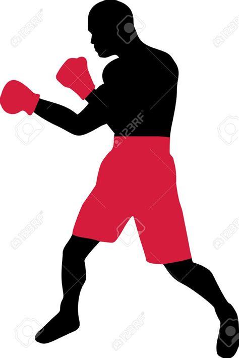imagenes siluetas negras silueta negra de boxeador con pantal 243 n rojo y guantes