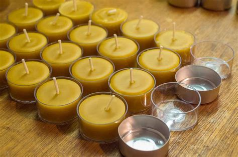 beeswax tea lights bulk beeswax tea light e m gold beekeepers