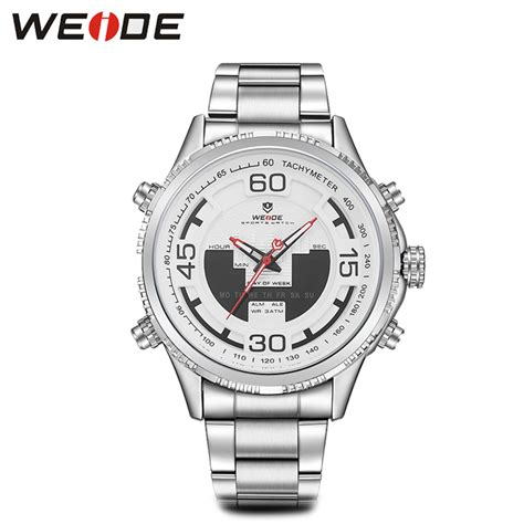 Jam Tangan Analog Digital Led Stainless Steel Date Day weide jam tangan analog stainless steel wh6306 white jakartanotebook