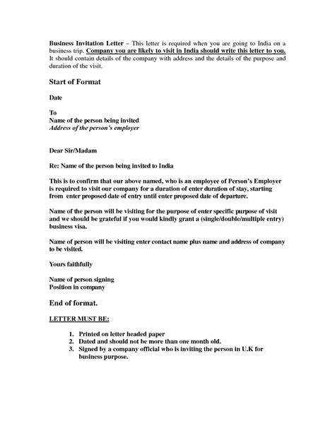 Sle Letter For Visa Invitation To Uk How To Write A Business Invitation Letter For Uk Visa Howsto Co