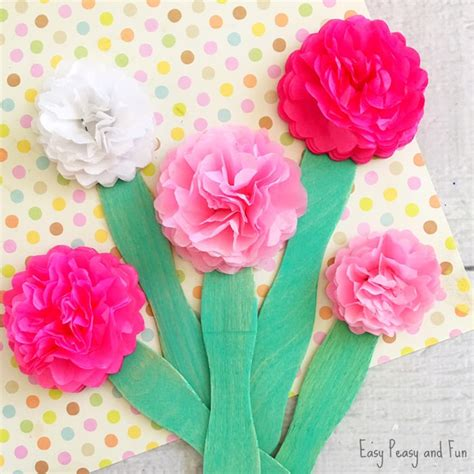 Flower Crafts With Tissue Paper - tissue paper flower craft easy peasy and