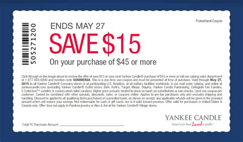 printable coupons yankee candle outlet yankee candle coupon 15 off a 45 purchase
