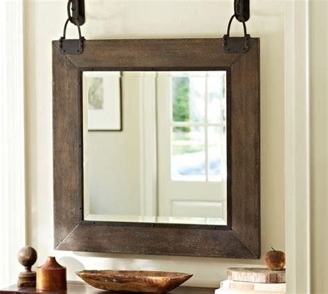 Industrial Hanging Wood Frame Mirror Industrial Bathroom Mirrors