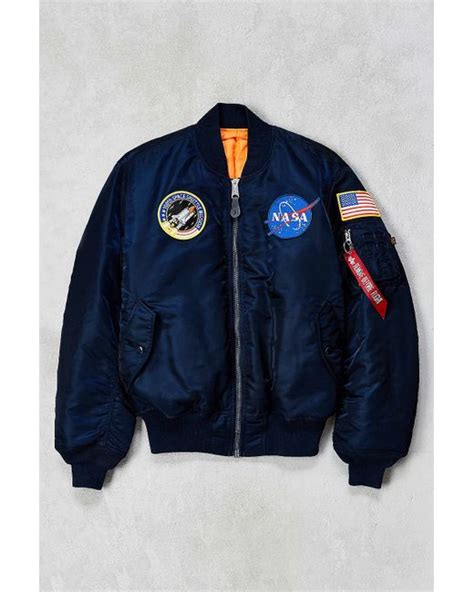 Nasa Bomber Navy alpha industries nasa ma 1 bomber jacket in blue for