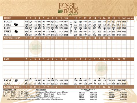 card course fossil trace golf club scorecard denver golf course