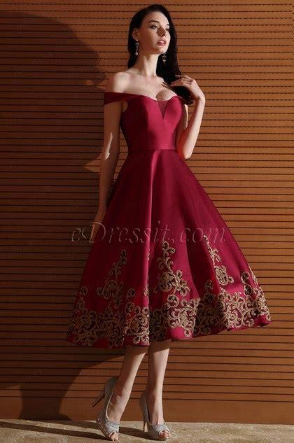 edressit designer burgundy  shoulder short prom dress