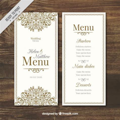 menu design eps hand drawn ornamental wedding menu vector free download