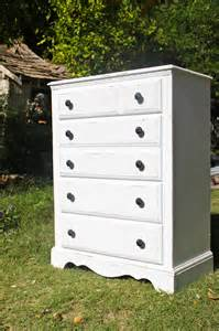 white distressed shabby chic five drawer dresser with