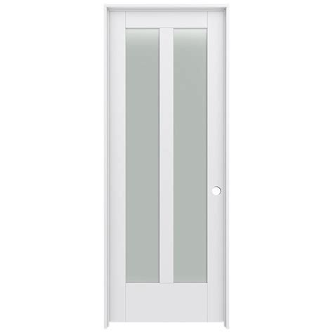 Prehung Interior Door With Glass Shop Jeld Wen Moda 2 Lite Frosted Glass Pine Single Prehung Interior Door Common 30 In X 80 In