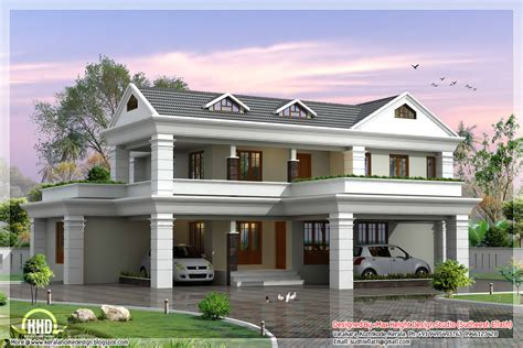 2 stories house 2 storey sloping roof home plan kerala house design idea